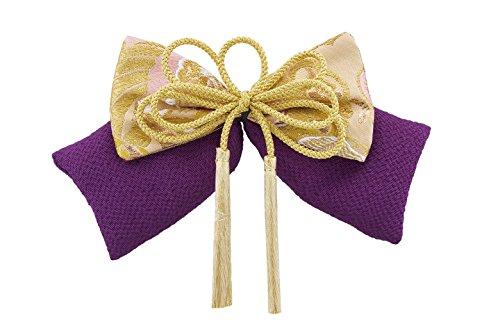 髪飾り 紫色 パープル 金色 リボン 房紐飾り 金襴緞子 縮...