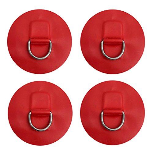 GRALARA 4個 ステンレススチール製 Dリング パッド パッチ PVC ボート カヤック用  全5色 - 赤
