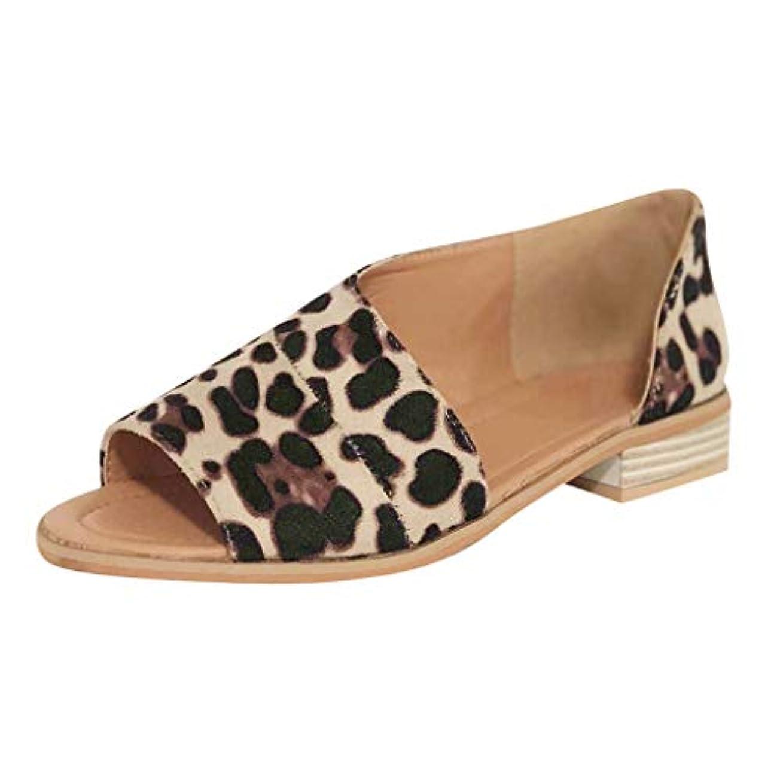 肌自分メガロポリスレディース サンダル Tongdaxinxiレディース ファッション カジュアル ローマのぞき見つま先のローヒール ヒョウスクエアヒール 靴 サンダル サンダル 軽量 おしゃれ 歩きやすい ファッションサンダル スリッパ