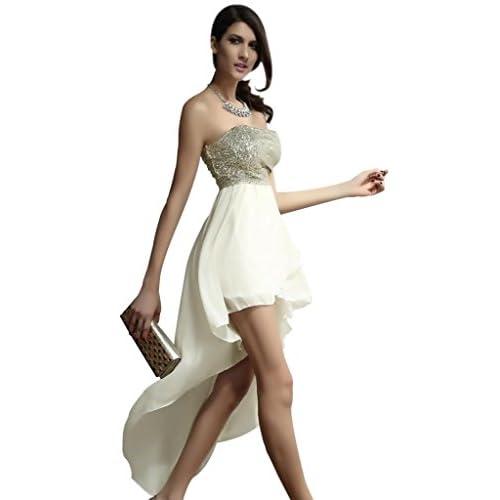 (ラボーグ)La Vogue ボディコン レディース シフォンワンピースドレス キャバ 二次会 フレア着痩せ 後ロング裾 ベア ミニ丈ワンピース M ホワイト