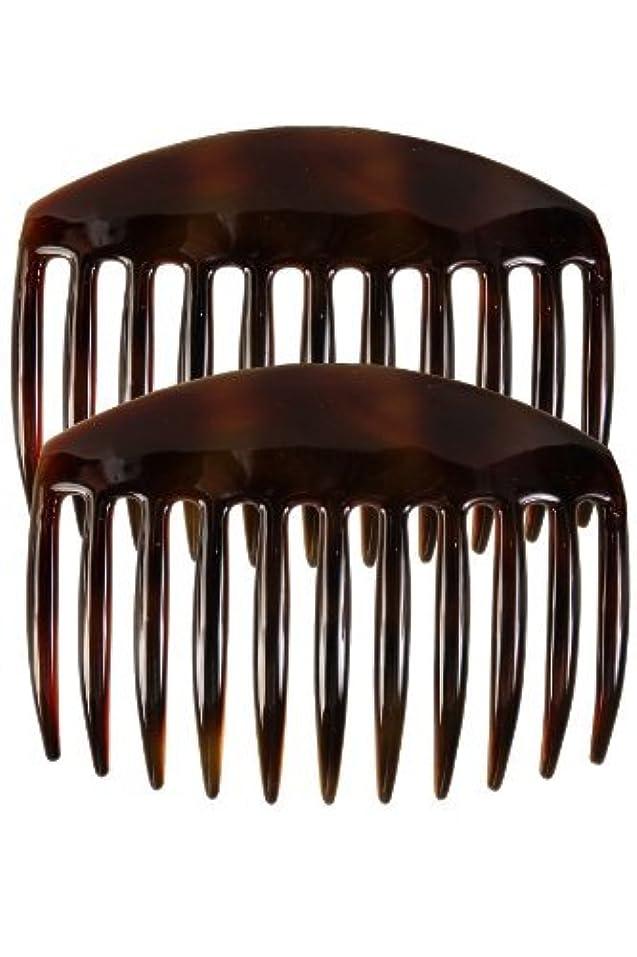 初心者ポイント嫌なCaravan French Tooth Back Comb Tortoise Shell Pair, Large.65 Ounce [並行輸入品]