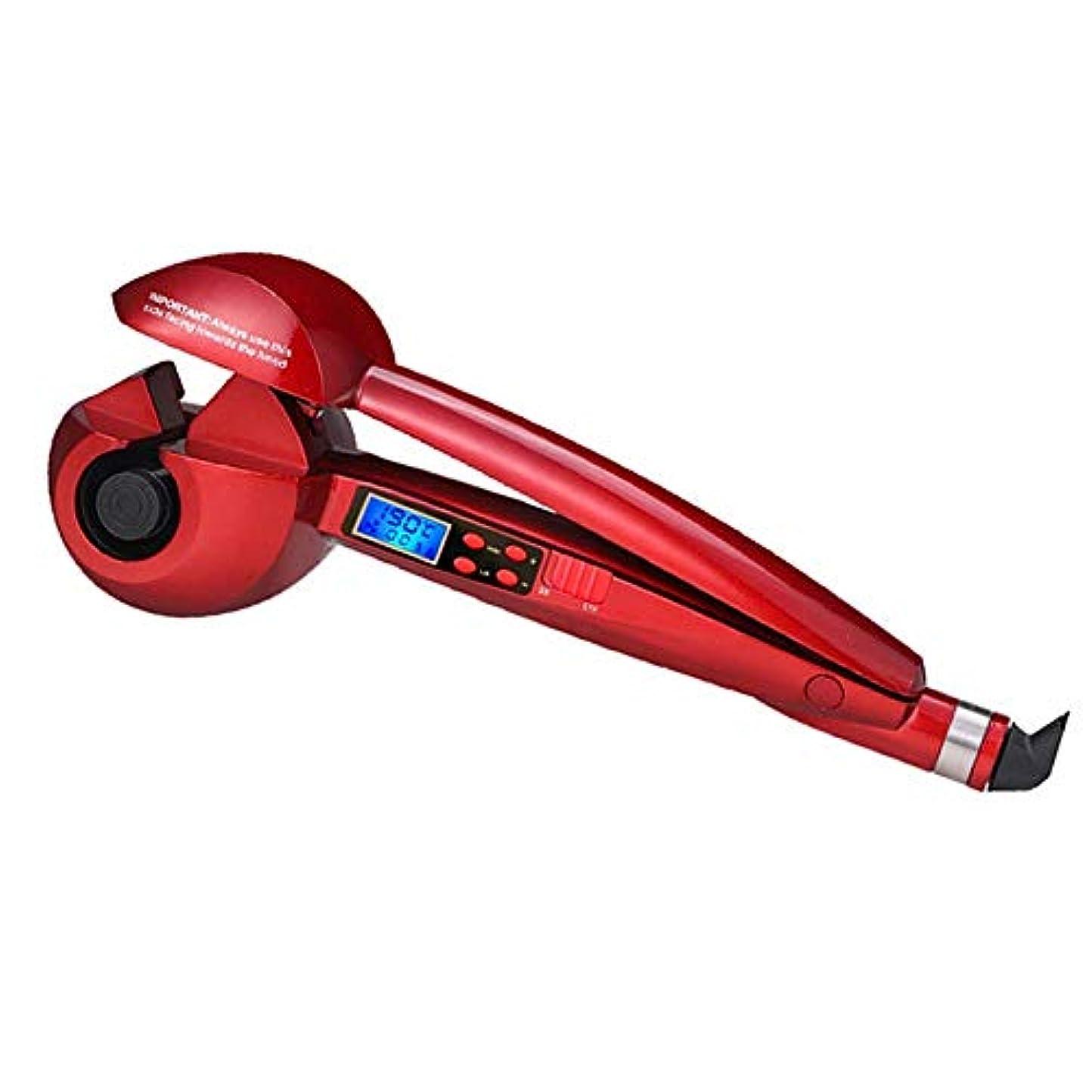 メモ遠い典型的なナノセラミック自動ヘアカーラー多機能スピードホット液晶デジタルディスプレイ調節可能な温度電気カーリングアイロン、赤 (Color : Red)