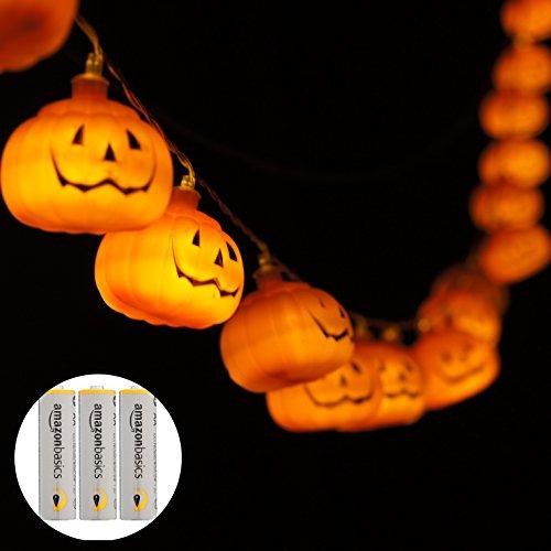 【 2019年版 点灯パターン8種類 】WhiteLeaf ハロウィン 装飾 飾り ライト カボチャ イルミネーション パンプキン LED 20球 全長4m 電池式 (Amazon電池セット)