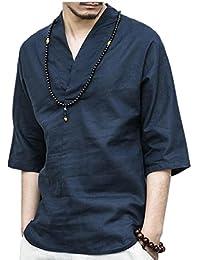 Keaac メンズ夏のファッションネック七分袖リネンシャツトップス