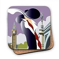 Art247 - ロンドンのアールデコのデザインが施されたコルクバックアップコースター。イラストレーターでは、Dave Thompson - 100mm x 100mm