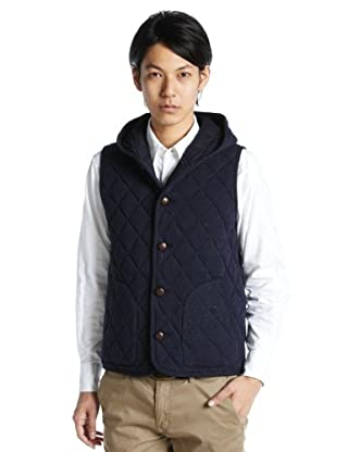 Cotton Wool Hooded Quilted Vest 3225-183-1279: Navy