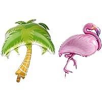 Kesoto 2本 バルーン パームツリー フラミンゴ 大きな ヤシ 木アルミ箔 風船 ハワイ風 パーティー 装飾