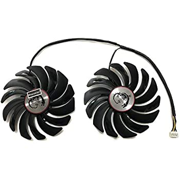 PLD10010B12HH 95mm DC 12V 0.4A 2pcs/セット 曲り羽根 MSI用 GTX1080TI GTX1070 GTX 1080/1070Ti RX580 RX570 RX480 RX470 GAMING GPU VGA オルタナティブ PCパーツ 冷却パーツ・ファン グラフィックカードファン できる 取り替える PLD10010S12HH