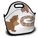 【ハブ対マングース】ランチバッグ 大容量弁当バッグ ファミリー 男女兼用 通勤 通学 面白い 創意柄 アニマル 可愛いバッグ