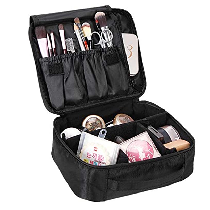 潤滑するオアシスログ特大スペース収納ビューティーボックス トラベルメイクアップバッグ - プレミアムベジタリアンデザイナーメイクアップバッグレディーストレインカバー - 3つの化粧品バッグ、化粧品バッグまたは化粧品バッグ(黒と赤のオプション...