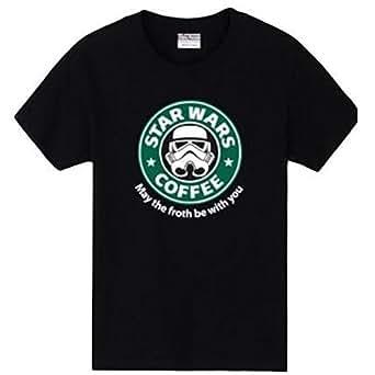 〔ELEEJE〕 スタウォーズ スターバックス コラボ Tシャツ STAR WARS COFFEE STAR BUCKS おもしろ パロディ 〔めいめい屋オリジナル〕 (M, 黒)