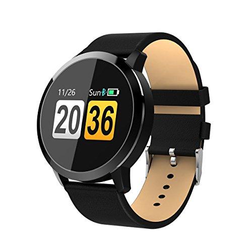 Diggro Q8 スマートウォッチ 心拍計 血圧計 歩数計 睡眠モニター line通知 着信電話通知 SMS通知 IP67防水 リモートカメラ 長座注意 紛失防止 日本語説明書 iphone&Android対応 (ブラック レザーバンド)