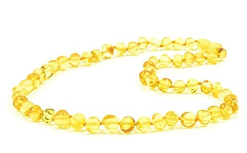 ハブ入学する血色の良いBaltic amberネックレス大人用 – 18 – 21.6インチ – amberjewelry – MadeからAuthentic Baltic Amberビーズ – レモン色 21.6 inch