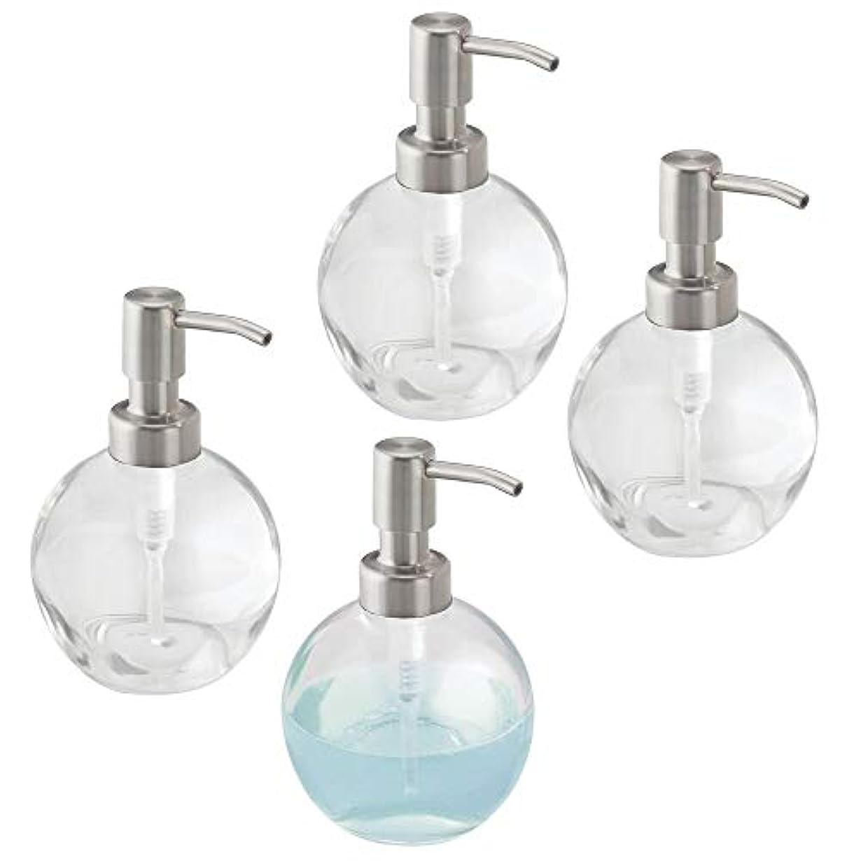 ニックネーム進化する予測するmDesign Liquid Hand Soapガラスディスペンサーポンプボトルのキッチン、バスルーム|もCan Be Used For Hand Lotion & Essential Oils – 4のパック、ラウンド...