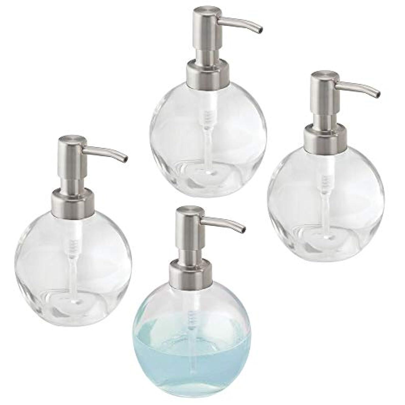 コーナー洋服意識的mDesign Liquid Hand Soapガラスディスペンサーポンプボトルのキッチン、バスルーム|もCan Be Used For Hand Lotion & Essential Oils – 4のパック、ラウンド...