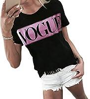 maweisong 女性のクルーネック半袖レタースリムフィットジャージーブラウスカジュアルTシャツ 7 L