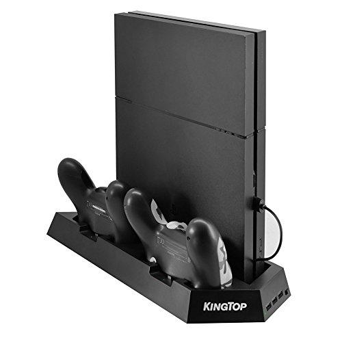 PS4 PRO 冷却 新型 PS4 PRO 専用版 コントローラー 充電スタンド KINGTOP コントローラー2台同時充電 PS4本体冷却ファン有 USBハブ3ポート PS4 PRO コントローラー クーラー 軽量 薄型 スタンド プレーステーション4 PRO専用 日本語説明書付き