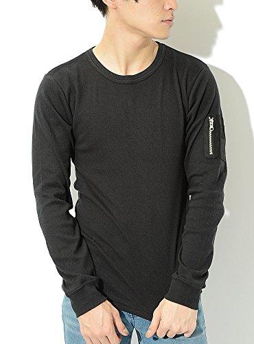 ブラック L (ベストマート)BestMart 袖ポケット ストレッチ ミリタリー MA-1 美シルエット Tシャツ メンズ カットソー 長袖 おしゃれ 長そで クルーネック ボートネック Uネック U首 タイト 無地 細身 スリム ポケット ロングTシャツ ティーシャツ 622086-006-001
