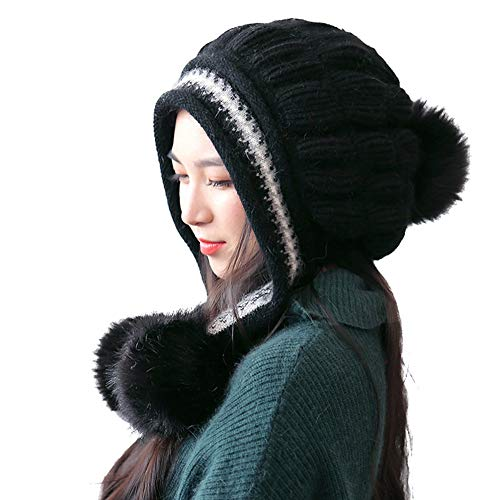 Woman Warm Hats Cute Pompon Ear Winter Knitted Hat Skullies Beanies Crochet Ski Cap Bucket Cap
