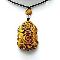石街 天然石色合い極上4Aタイガーアイ 龍亀精工彫り ペンダントトップ ネックレス