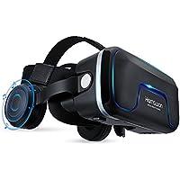VRゴーグル 3DVRゴーグル 3Dメガネ ヘッドホン付き スマホ用 音量調整3D VRゴーグル ヘッドホン実装 VRメガネ 疑似体験3D眼鏡 3D動画/ゲーム用VR BOX HAMSWAN G04EA視界レンズ距離を調整可能4.0~6.0インチスマホiOS/ Androidに対応3Dグラス(ブラック)
