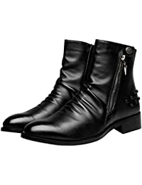 スタッズ マーティンブーツ マーチンシューズ メンズ サイドジップ ボタン 黒ブラック 防水 防滑 くしゅくしゅ ショートブーツ インヒール ハイカット イングランド風 3cmアップ スムース エンジニアブーツ 紳士靴