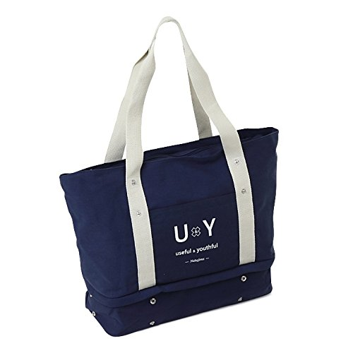 下段に靴も収納できるから、これ一つあればジム通いできる! スポーツバッグ U&Y (ネイビー)