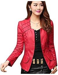 AngelSpace 女性セクシーファッションパッチワークボタンフォークスレザーコートジャケット