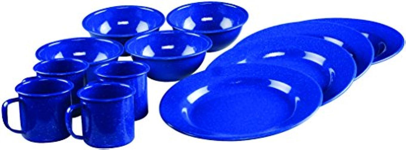 シルク振りかける打ち上げるColeman コールマン 12-Piece Enamelware Dining Set (Blue) (並行輸入品)
