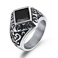 Adisaer メンズ サージカルステンレス ジュエリー リング ブラック キュービックジルコニア 菱形 パターン シルバー レトロ パンク系 人気 プレゼント 指輪 サイズ 21