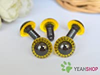 14mm Yellow Safety Eyes for Owl / Plastic Eyes - 5 Pairs by Pupil Eyes