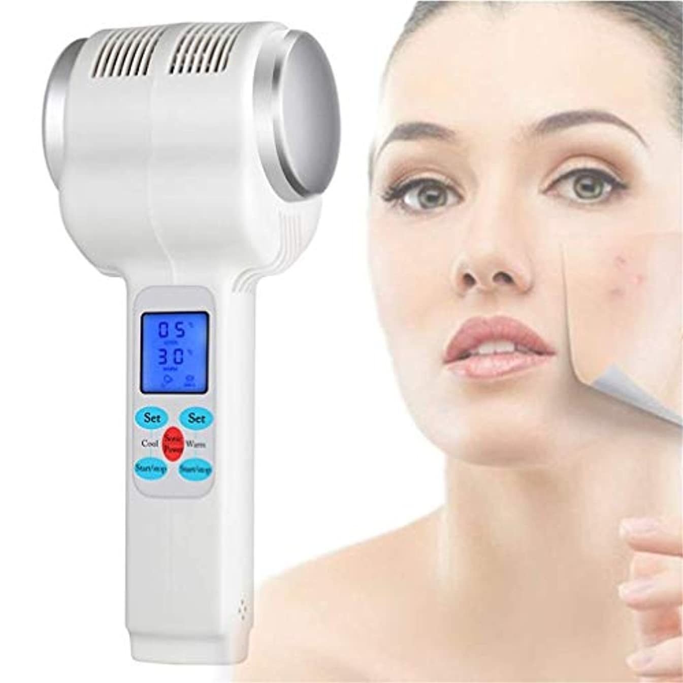 ある教育学パワーセル顔のリフティングセラピースキンを引き締めるマッサージマシンの美しさを持ち上げる顔の美容マシン超音波ホットコールドハンマーボディスキンリフティング、アイバッグ除去、しわの除去