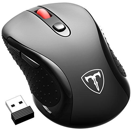 Qtuo 2400DPI ワイヤレスマウス 2.4G無線伝送 USB無線マウス 6ボタン 2サイドボタン調整可 5DPIモード調整可 節電機能付き ブラック