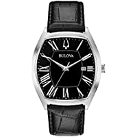 Bulova Men's Quartz Watch Leather Strap analog Display and Leather Strap, 96B290