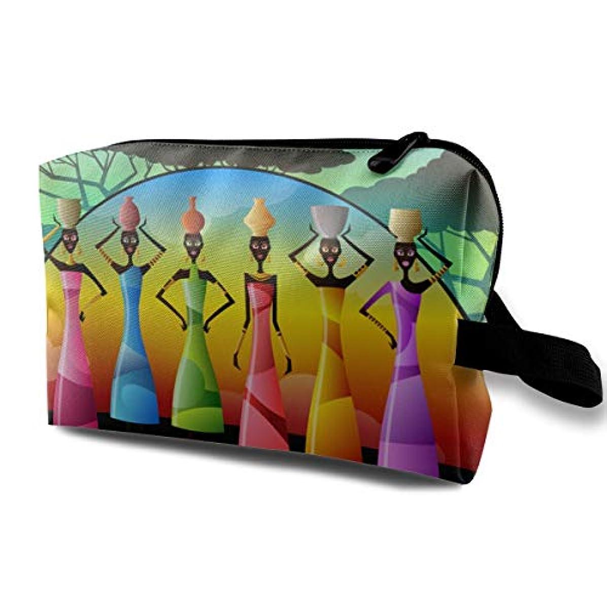 バケツ読書をするキウイAfrican Women With Colorful Dresses 収納ポーチ 化粧ポーチ 大容量 軽量 耐久性 ハンドル付持ち運び便利。入れ 自宅?出張?旅行?アウトドア撮影などに対応。メンズ レディース トラベルグッズ