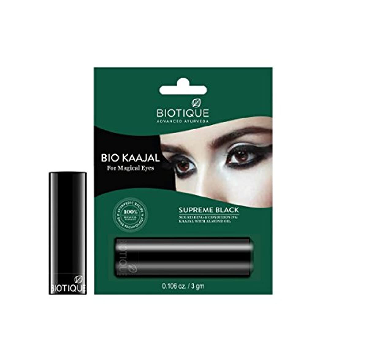 小川かわす合理化Biotique Bio Kajal Nourishing and Conditioning Eye Kaajal with Almond Oil, 3gm