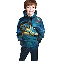 Mostico Nachill Godzilla King of The Monsters Kids' Casual Pullover Long Hoodie with Pockets Hooded for Teen Boys and Girls