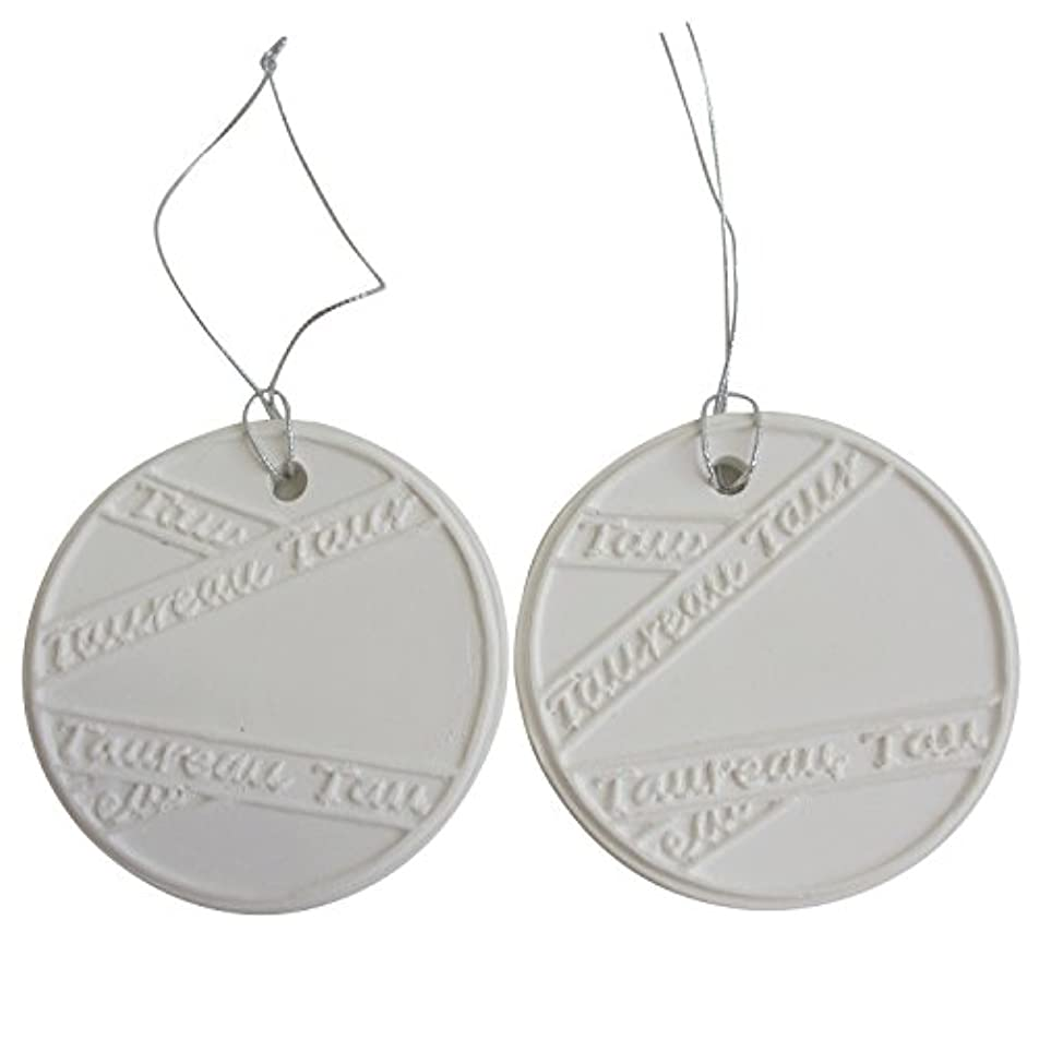 ペイントパラナ川補うアロマストーン ホワイトコイン2セット(リボン2) アクセサリー 小物 キーホルダー アロマディフューザー ペンダント 陶器製