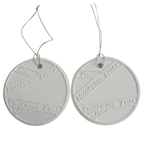 アロマストーン ホワイトコイン2セット(リボン2) アクセサリー 小物 キーホルダー アロマディフューザー ペンダント 陶器製