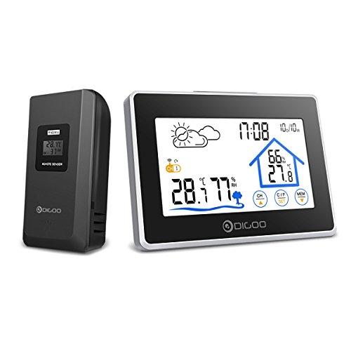 温度計湿度計 DIGOO 気象計 天気予報 ワイヤレス タッチボタン 多機能 室内外 快適感 3センサー デジタル 日付時間 カレンダー 大画面 置き掛け両用 健康管理 生活管理