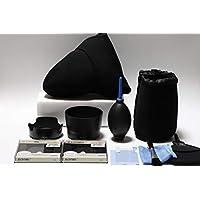 Canon EOS KISS X9 ダブルズームキット用 入門アクセサリー 11点セット(フード/液晶保護フイルム/レンズ保護フィルター/カメラケース/レンズケース/ブロアーなど)