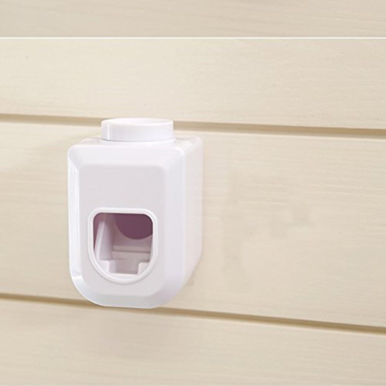 ゴム嵐のペインティングBESTOMZ ハンズフリー歯磨き粉スクイーザー, ウォールマウント自動防塵練り歯磨き粉ディスペンサー白