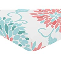 Sweet Jojo Designs Fitted Crib Sheet for Modern Emma Baby/Toddler Bedding Set Collection - Floral Print [並行輸入品]