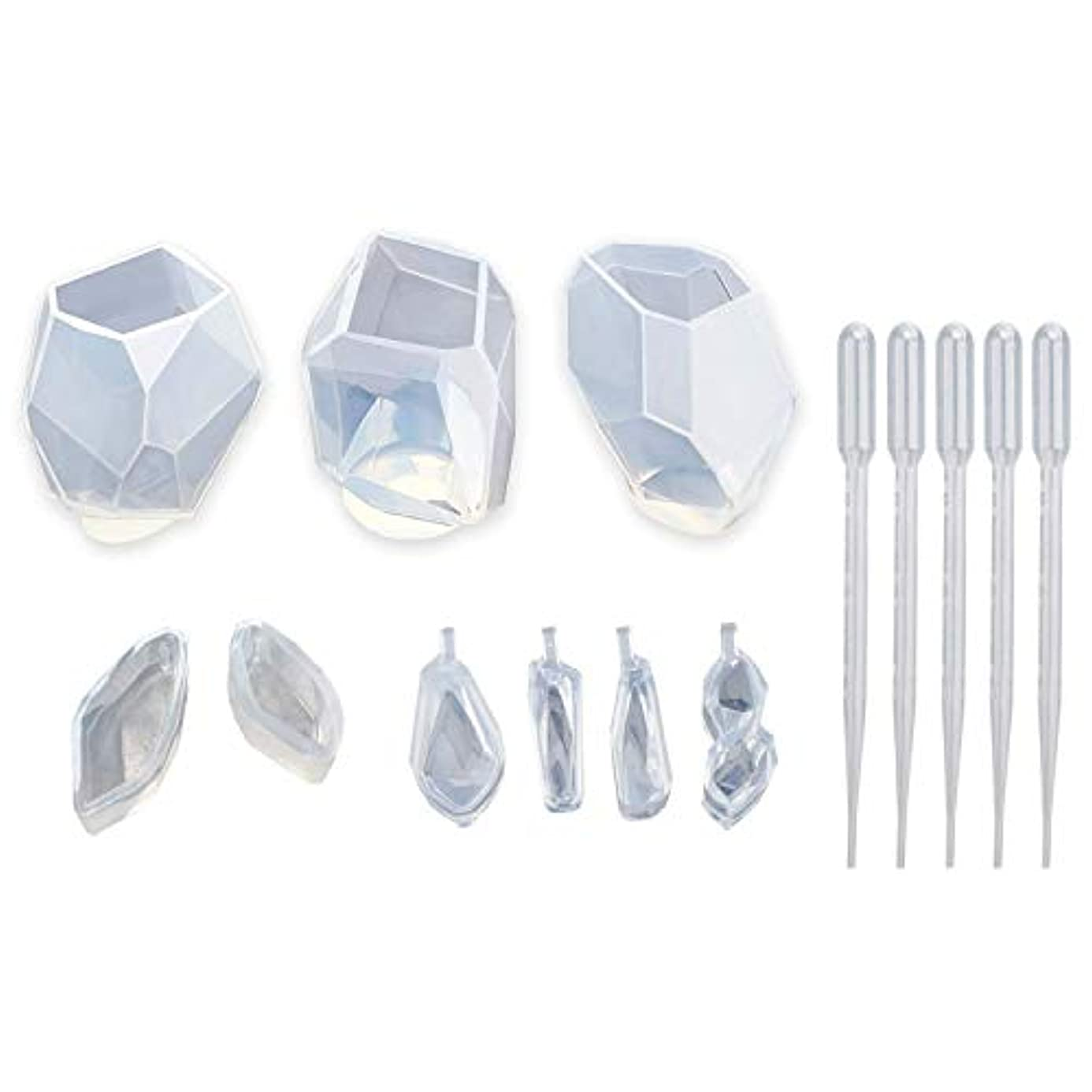 RETYLY 樹脂用シリコーンモールド 9個樹脂モールド 水晶石形状樹脂ジュエリーモールド ジュエリー鋳造モールド 宝石類ネックレス/蝋燭/石鹸作り用 家装飾品
