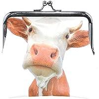 AOMOKI 財布 小銭入れ ガマ口 コインケース レディース メンズ レザー 丸形 おしゃれ プレゼント ギフト オリジナル 小物ケース 牛柄