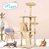 Advwin 157 cm Multi-Level Cat Tree Stand House Furniture Kittens Activity Tower with Scratching Posts and Ladder, Kitty Pet Play and Sleeping House( Beige)