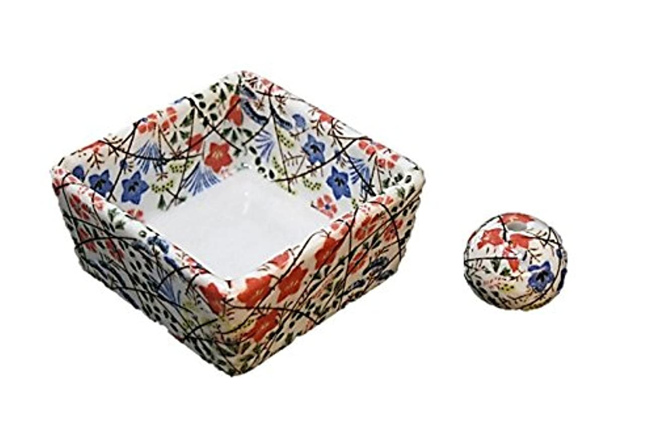 コンパニオンアーサーコナンドイル頭蓋骨和モダン 錦織 お香立て 陶器 角鉢 製造直売品