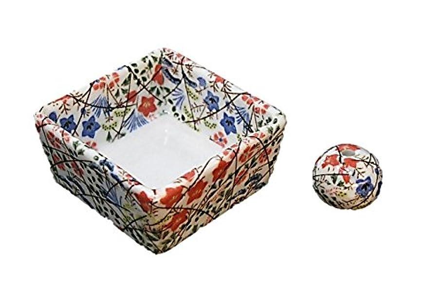 導出角度野な和モダン 錦織 お香立て 陶器 角鉢 製造直売品