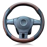 LucaSng 車用ハンドルカバー ステアリングホイールカバー 穴設計 通気 滑り止め 汚れ防止 Bタイプ ブラウン L 外直経39~40CM