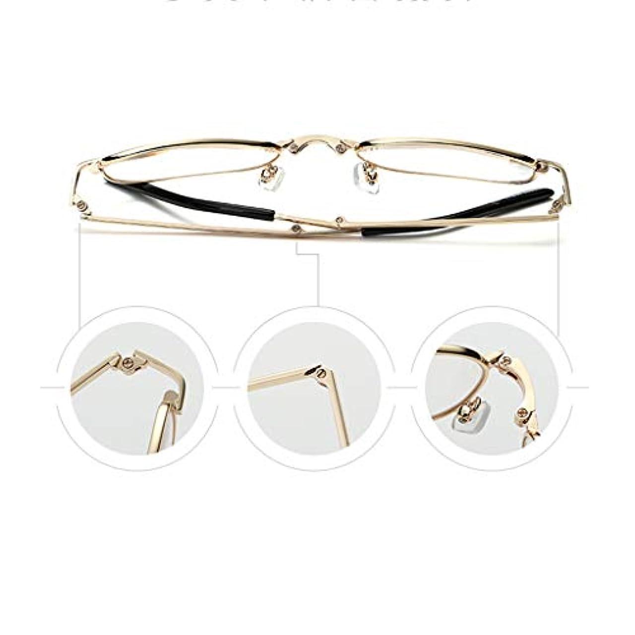 老眼鏡、読書メガネ。超軽量の折りたたみ式、携帯用フルフレーム老眼鏡、HD樹脂レンズ。 (銀金)